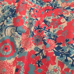NWOT Lilly Pulitzer floral pants White blue pink 4